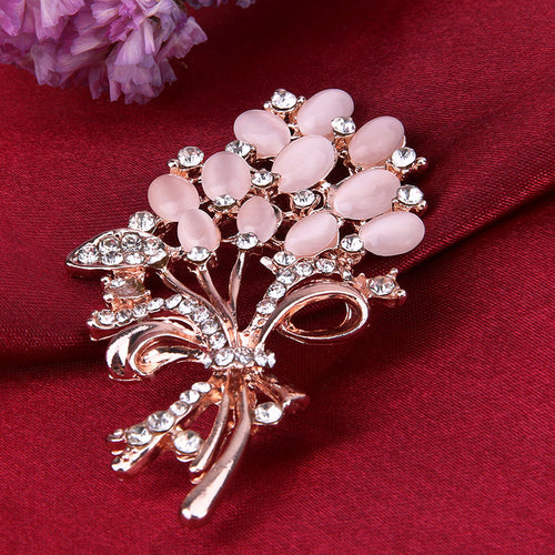 Fashionable Opal Stone Flower Brooch Pin