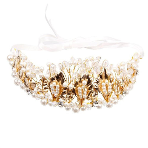 Crystal Rhinestones Faux Pearl Golden Leaves Flower Crown Tiara Headband for Wedding Bridal Bridesmaid Prom Silver