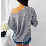 Slash Neck Sequined Knitted Sweatshirt
