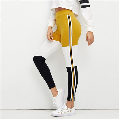 Dotfashion Striped Wide Waistband Color Block Womens Leggings Casual Spring Autumn Clothing Trending Products 2018 Bottoms Pants