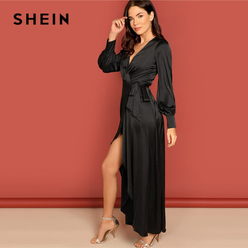 SHEIN Black Deep V Neck Knot Side Surplice Wrap Split High Waist Dress Women A Line Summer Modern Lady Elegant Dress
