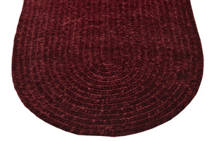 Burgundy Chenille Reversible Braided Rug End Detail
