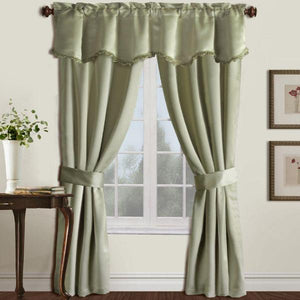 Burlington Five Piece Curtain Window Panel Set Green