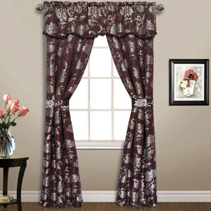 "Carrington Window Panel,Valance,Tieback Set, 52"" x 84"" Chocolate"