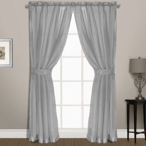 Summit Sheer Voile Window Panel Pair with Tiebacks Silver