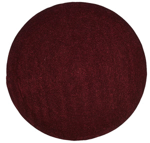 Burgundy Chenille Reversible Braided Rug Round
