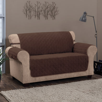 Chevron Loveseat Protector Chocolate in room