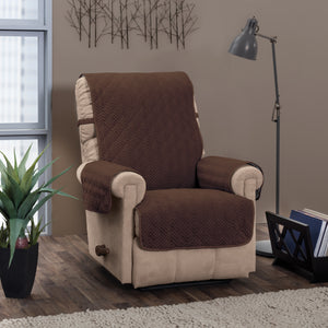 Chevron Recliner Protector Chocolate in use