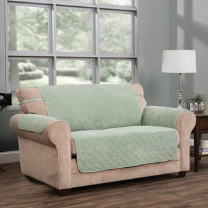 Ripple Plush Loveseat Protector Green