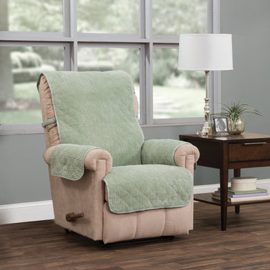 Ripple Plush Recliner Protector Green