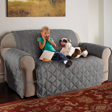 Microfiber Solid Ultimate Loveseat Protector in Use