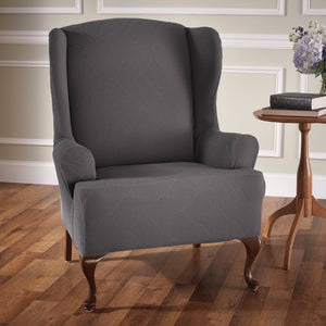 Optic Wing Chair Stretch Slipcover Grey
