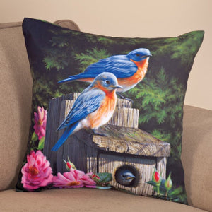 "Patio Collection 18"" Birdhouse Blues Throw Pillow shown indoors"