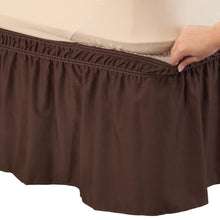 Solid Wrap Around Elastic Bed Skirt Brown
