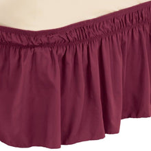 Solid Wrap Around Elastic Bed Skirt Burgundy
