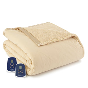 Micro Flannel® Reverse to Sherpa Chino Electric Blanket