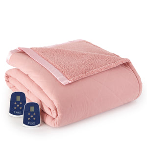 Micro Flannel® and Sherpa Frosted Rose Electric Blanket