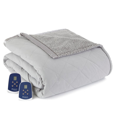 Micro Flannel® Reverse to Sherpa Greystone Electric Blanket