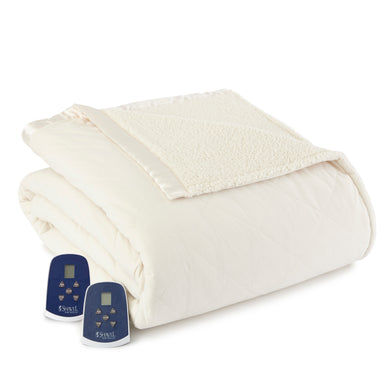 Micro Flannel® Reverse to Sherpa Ivory Electric Blanket