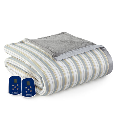 Micro Flannel® and Sherpa Metro Stripe Electric Blanket