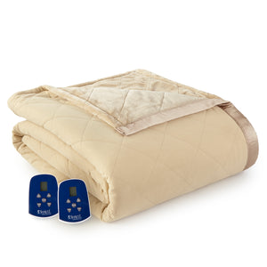 Micro Flannel® and Ultra Velvet® Camel Electric Blanket