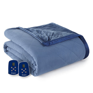 Micro Flannel® and Ultra Velvet® Indigo Electric Blanket