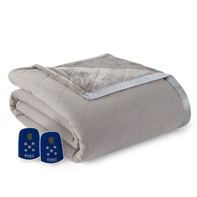 Micro Flannel® and Ultra Velvet® Smoke Electric Blanket