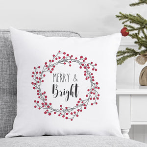 "Merry and Bright Throw Pillow 16"" Couch"