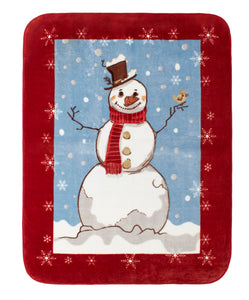 "Hi Pile Luxury Oversized Throw 60"" x 80"" Snowman"