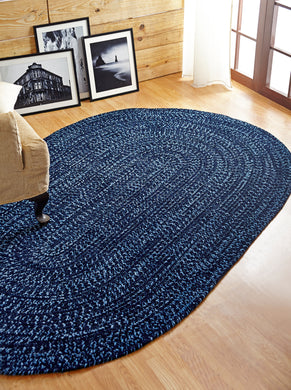 Navy and Smoke Blue Chenille Reversible Braided Rug