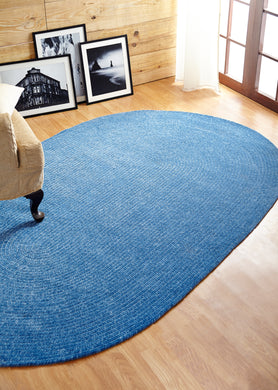 Smoke Blue Chenille Reversible Braided Rug