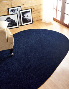 Navy Blue Chenille Reversible Braided Rug in use