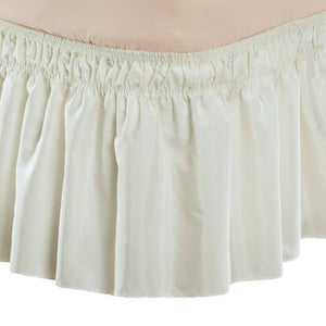 Solid Wrap Around Elastic Bed Skirt Ivory