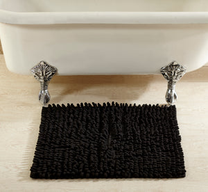 "Loopy Chenille Rocks Bath Rug 20"" x 36"" Black"