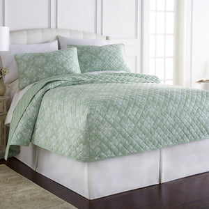 Micro Flannel® Toile Celadon Fitted Quilt Mini Set