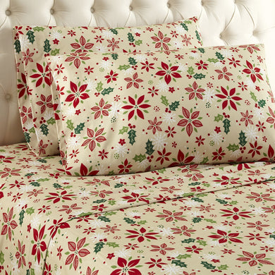 Micro Flannel® Poinsettia Sheet Set
