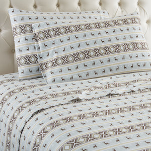 Micro Flannel® Reindeer Stripe Sheet Set