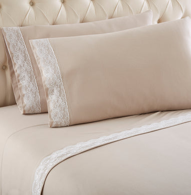 Micro Flannel® Victoria Lace-Edged Taupe Sheet Set