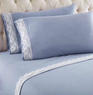 Micro Flannel® Victoria Lace-Edged Wedgewood Sheet Set