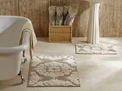 Medallion Bath Rug Set of 2 in Beige
