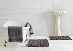 Micro Chenille Loop Bathmat and Cotton Towel Set of 3 Gray