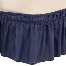 Solid Wrap Around Elastic Bed Skirt Navy