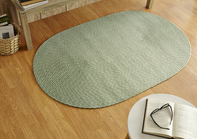 Lime Green Sunsplash Braided Rug in room