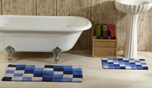 Tiles Bath Rug Set  Blue in room