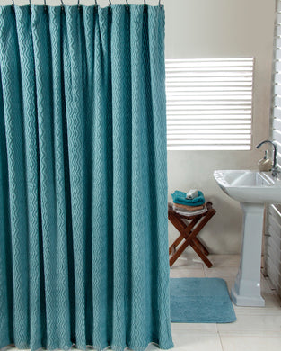Waves Shower Curtain and Solid Cut Pile Bathmat Set - Aqua
