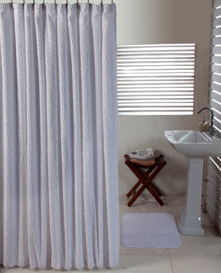 Waves Shower Curtain and Solid Cut Pile Bathmat Set - White