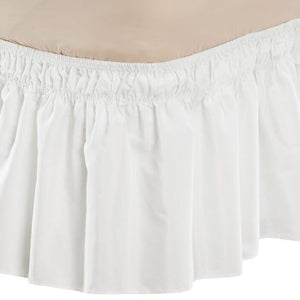 Solid Wrap Around Elastic Bed Skirt White