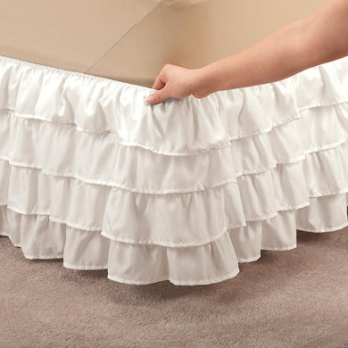 Layered Bed Ruffle in Ivory