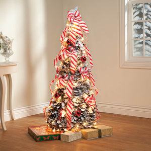 4-Ft. Candy Cane Frosted Pull-Up Tree by Holiday Peak™