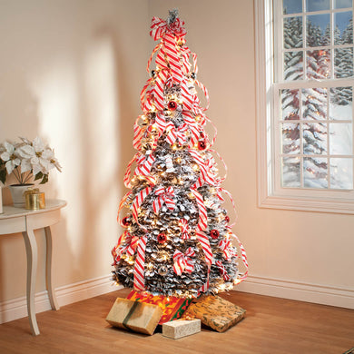 6-Ft. Candy Cane Frosted Pull-Up Tree by Holiday Peak